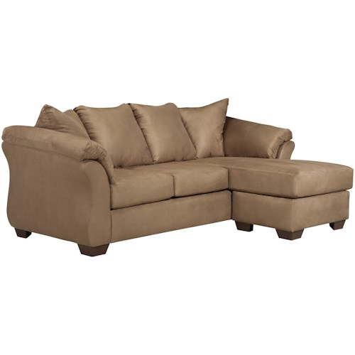 Signature Design by Ashley Darcy - Mocha Contemporary Sofa Chaise with Flared Back Pillows