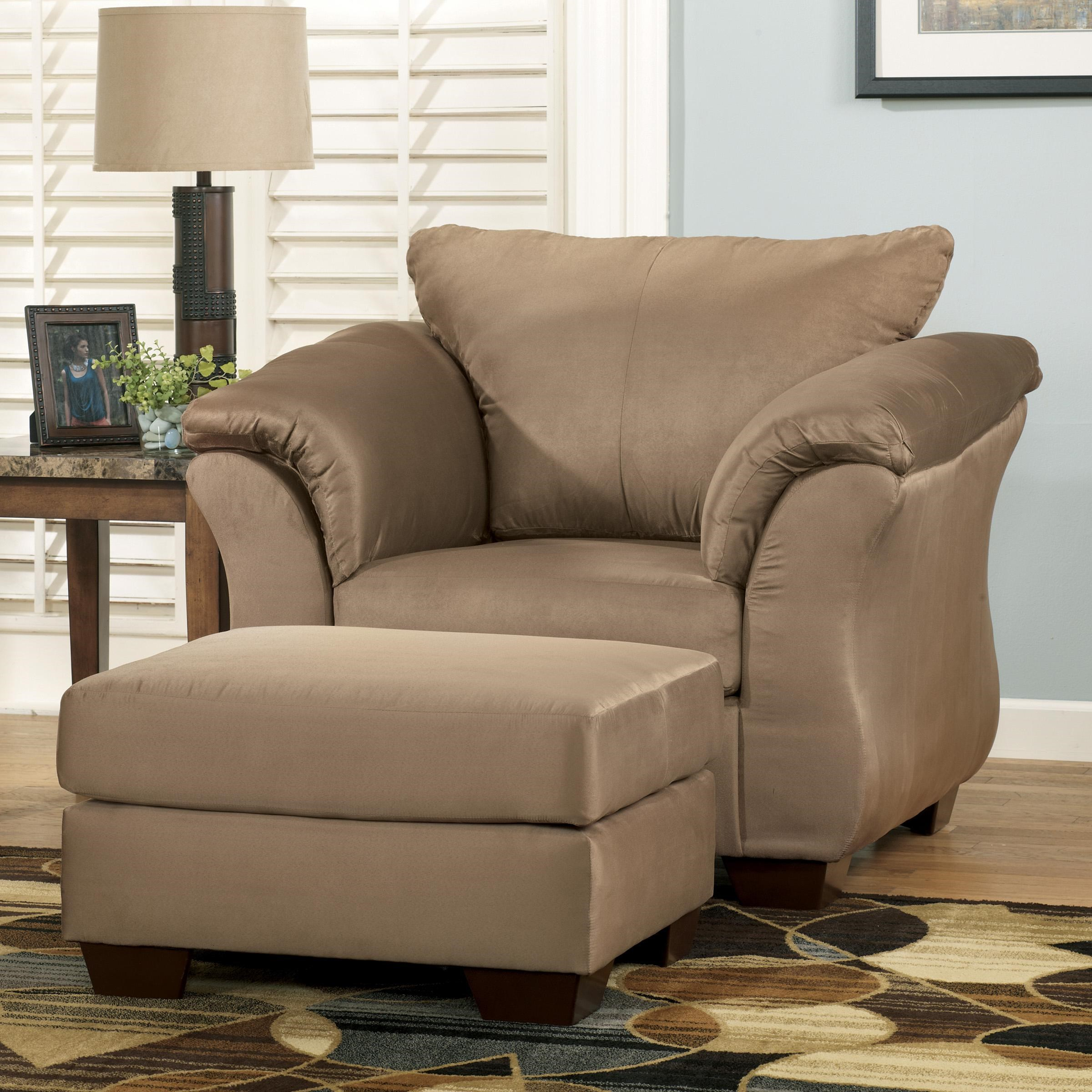Signature Design By Ashley Darcy   Mocha Contemporary Upholstered Chair And  Ottoman With Tapered Legs