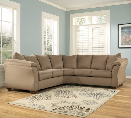 Signature Design by Ashley Darcy - Mocha Contemporary Sectional Sofa with Sweeping Pillow Arms