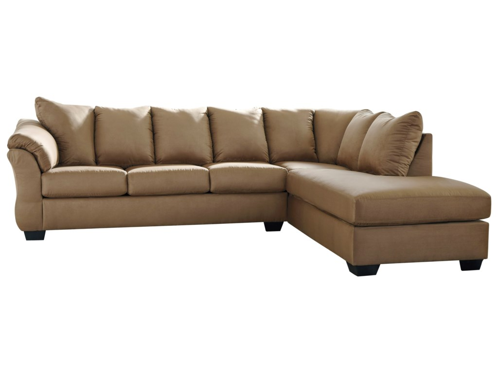 Darcy Mocha Contemporary 2 Piece Sectional Sofa With Right Chaise By Signature Design Ashley At Furniture And Liancemart