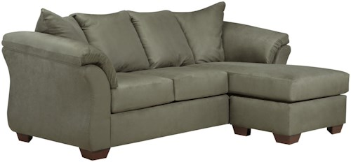 Signature Design by Ashley Darcy - Sage Contemporary Sofa Chaise with Flared Back Pillows