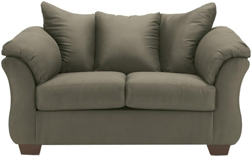 Signature Design by Ashley Darcy - Sage Contemporary Stationary Loveseat with Flared Back Pillows