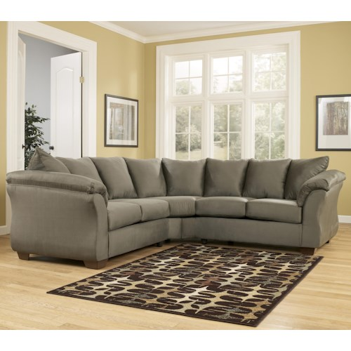 Signature Design by Ashley Darcy - Sage Contemporary Sectional Sofa with Sweeping Pillow Arms