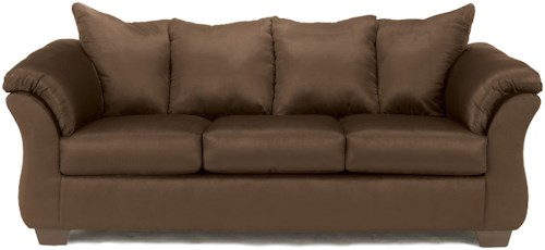 Signature Design by Ashley Darcy - Cafe Contemporary Stationary Sofa with Flared Back Pillows