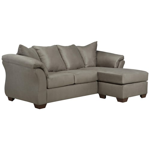 Signature Design by Ashley Darcy - Cobblestone Contemporary Sofa Chaise with Flared Back Pillows