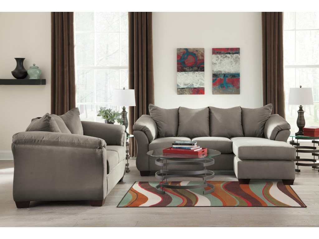 Signature Design by Ashley Darcy - CobblestoneChaise Sofa, Loveseat and Chair Set