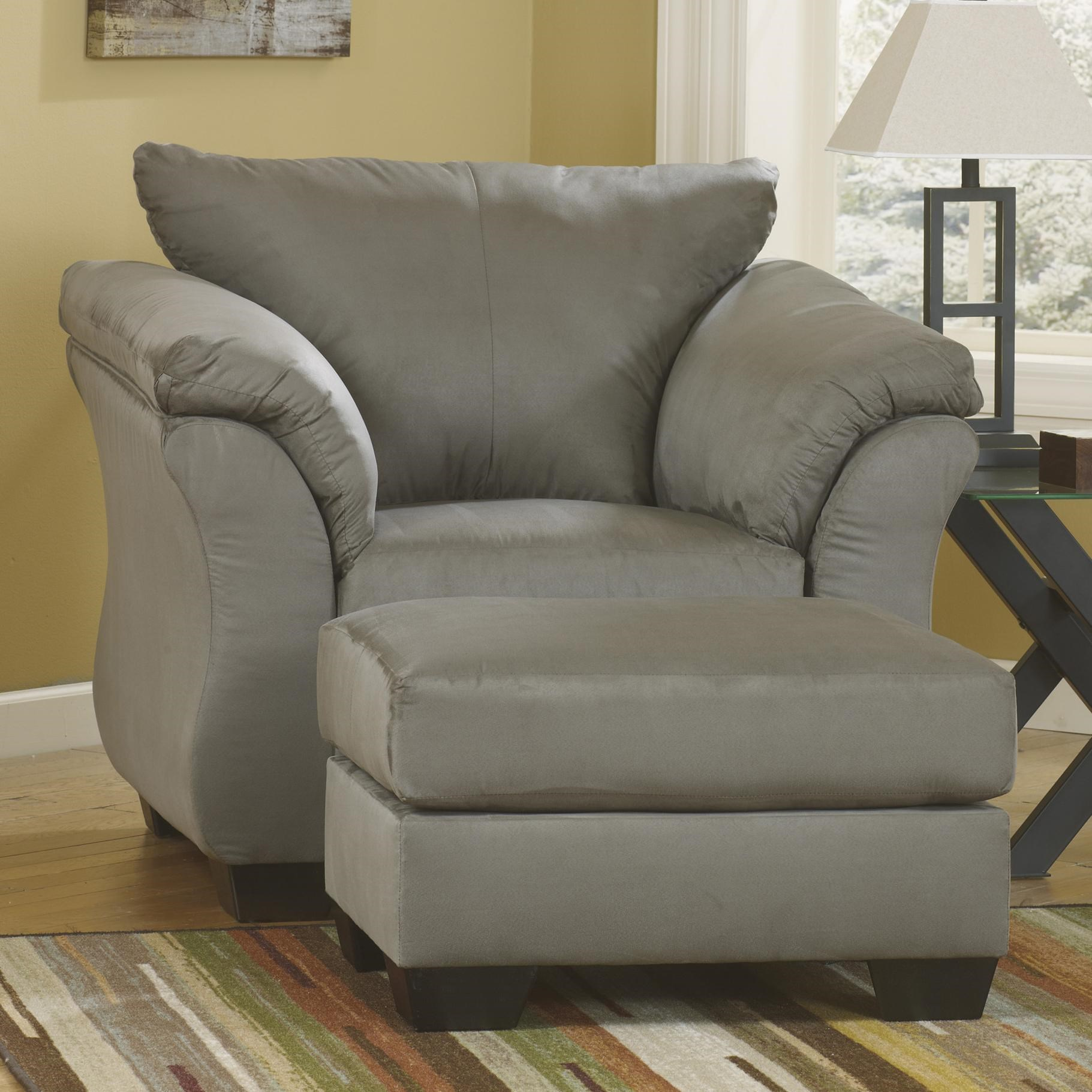 High Quality Signature Design By Ashley Darcy   Cobblestone Contemporary Upholstered  Chair And Ottoman With Tapered Legs