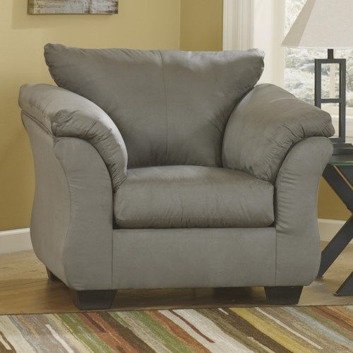 Signature Design by Ashley Darcy - Cobblestone Contemporary Upholstered Chair with Sweeping Pillow Arms