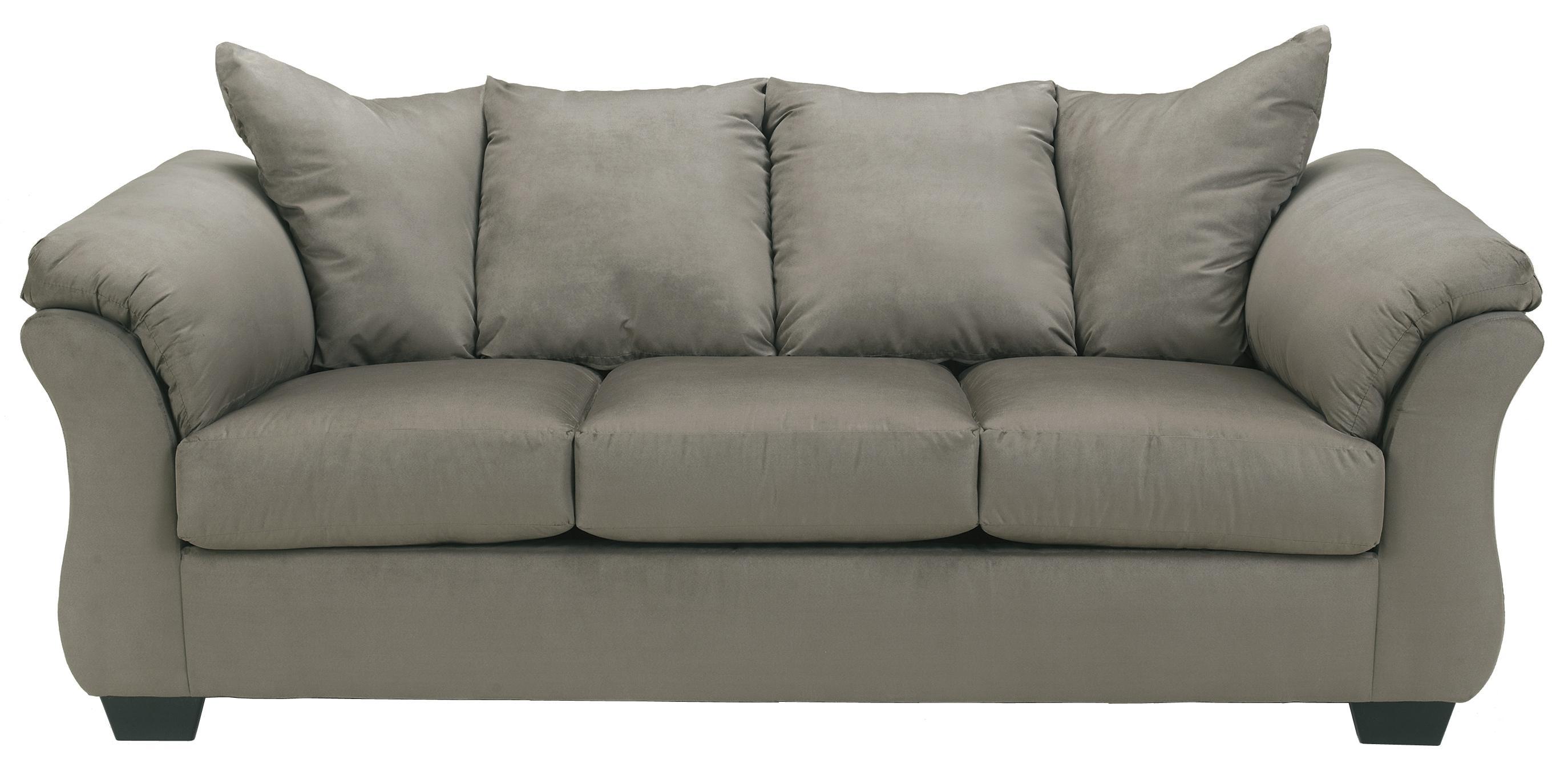 Ashley (Signature Design) Darcy   Cobblestone Contemporary Stationary Sofa  With Flared Back Pillows   Johnny Janosik   Sofas