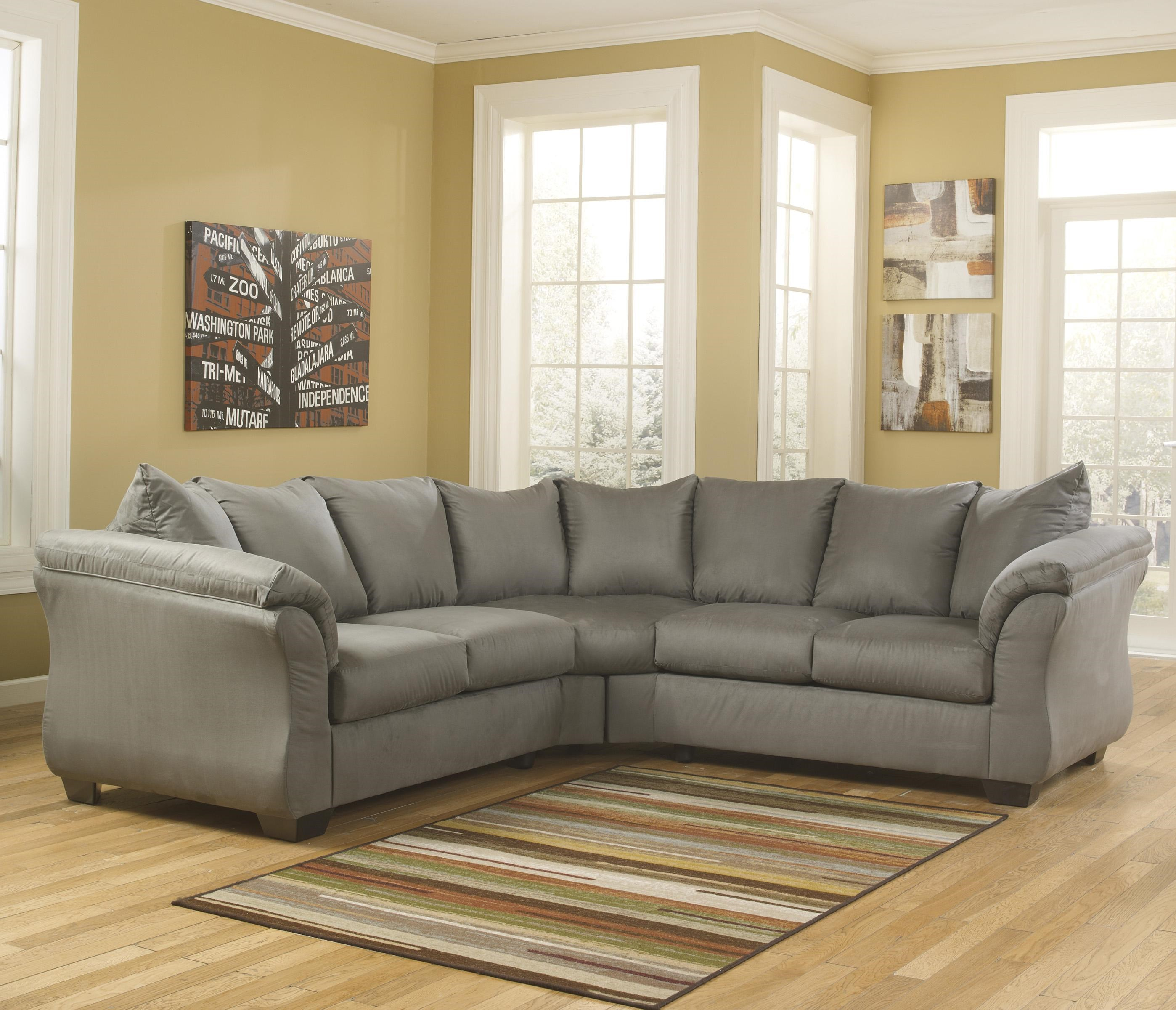 Signature Design By Ashley Darcy   Cobblestone Contemporary Sectional Sofa  With Sweeping Pillow Arms