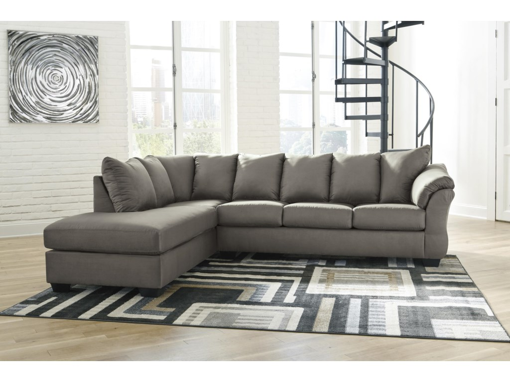Signature Design by Ashley Darcy - Cobblestone2 PC Sectional, Chair and Ottoman Set
