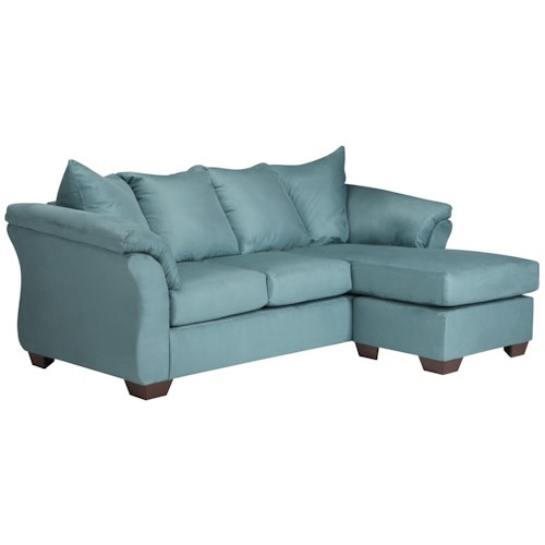 Signature Design by Ashley Vista - Sky Contemporary Sofa Chaise with Flared Back Pillows