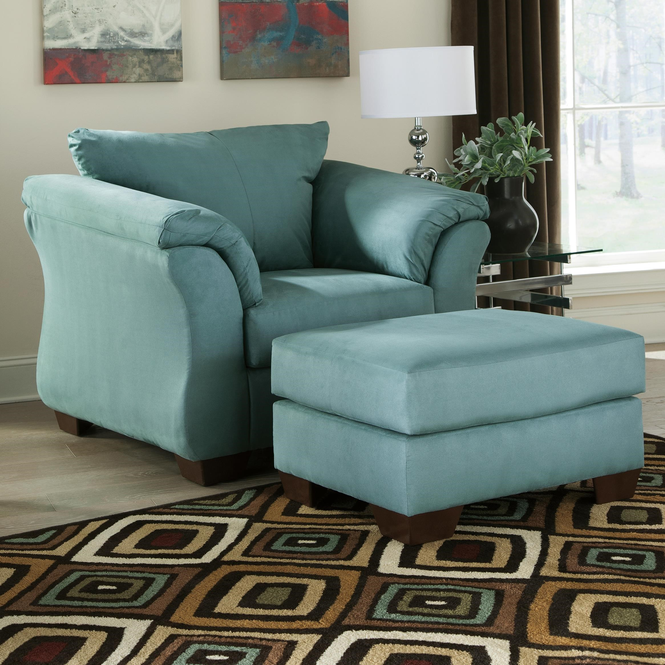 Signature Design By Ashley Darcy   Sky Contemporary Upholstered Chair And  Ottoman With Tapered Legs
