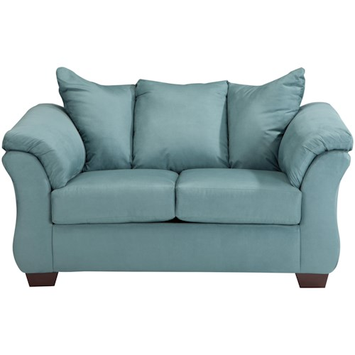Signature Design by Ashley Darcy - Sky Contemporary Stationary Loveseat with Flared Back Pillows