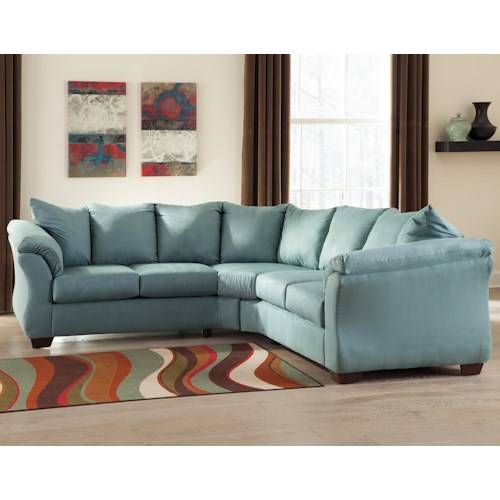 Signature Design by Ashley Vista - Sky Contemporary Sectional Sofa with Sweeping Pillow Arms