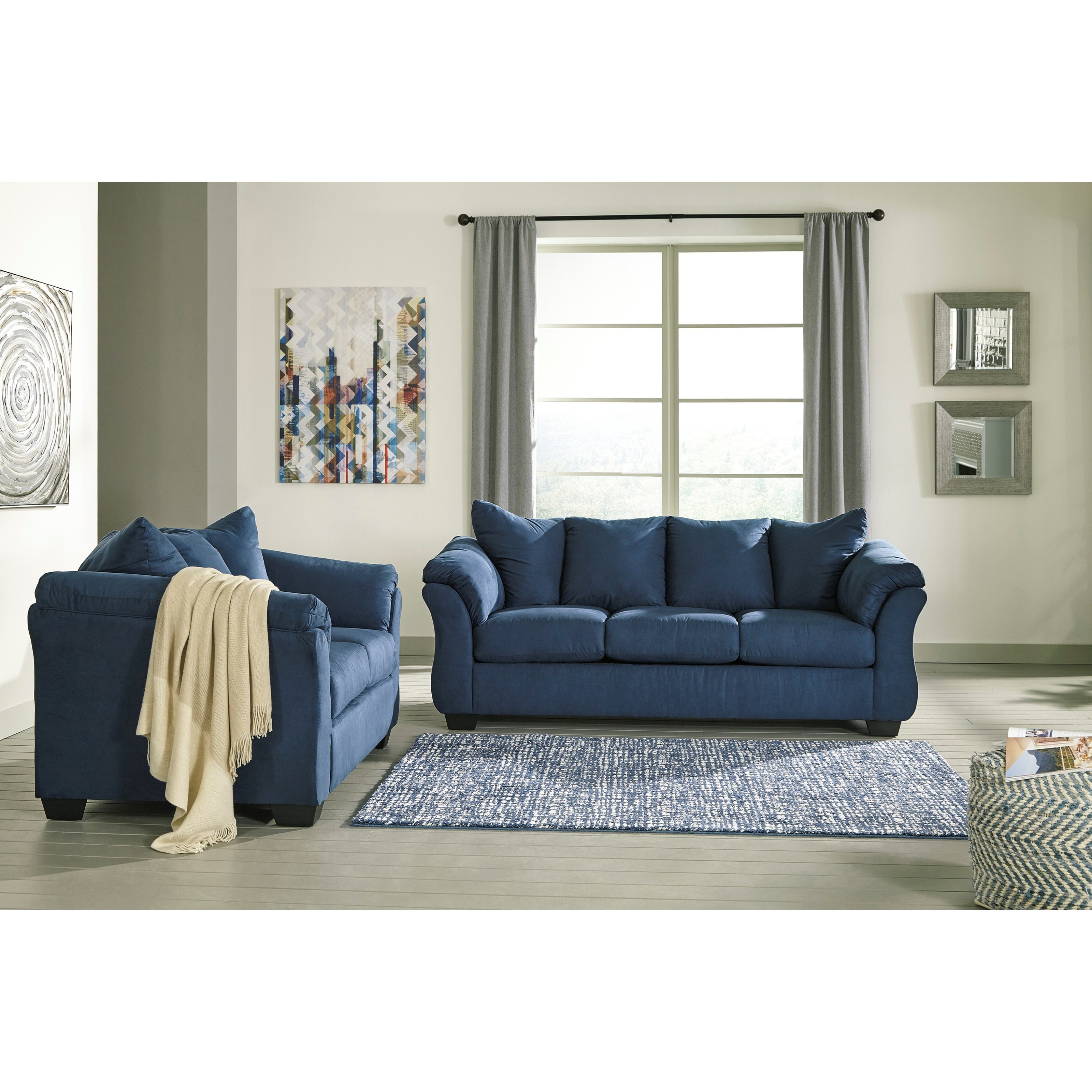 Signature Design By Ashley Darcy   Blue Stationary Living Room Group
