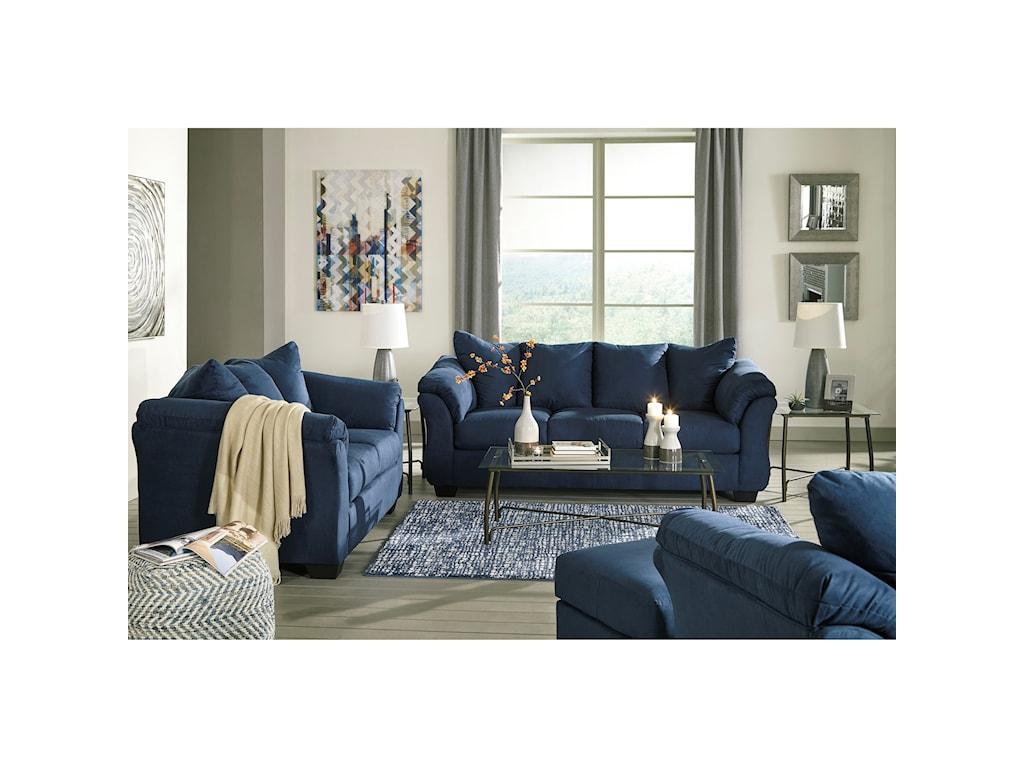 Ashley Signature Design Darcy - BlueStationary Living Room Group
