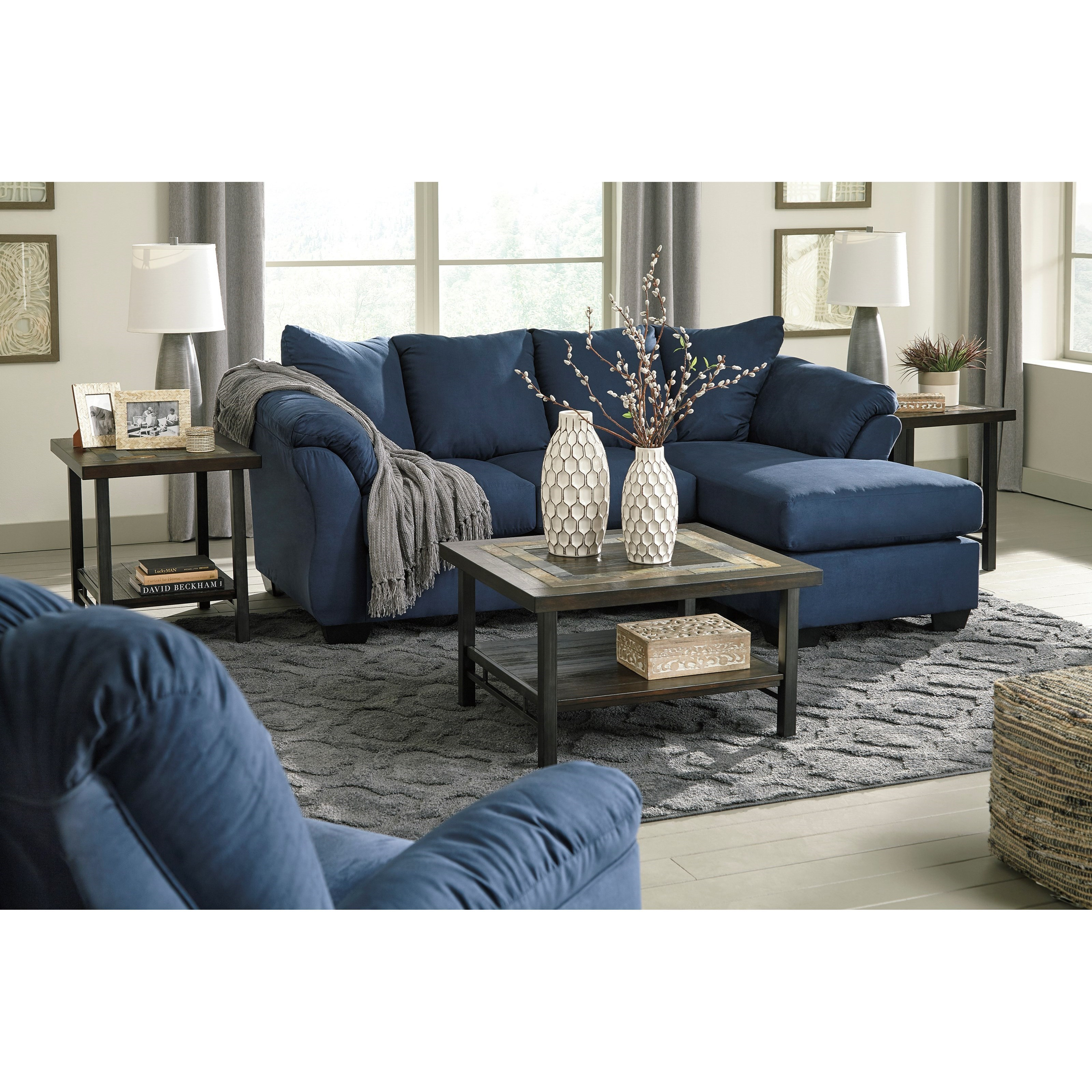 Signature Design By Ashley Darcy   BlueStationary Living Room Group