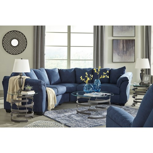 Signature Design by Ashley Darcy - Blue Stationary Living Room Group