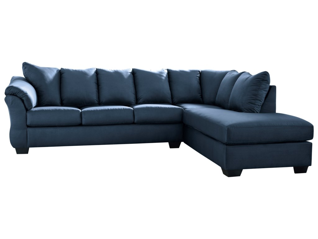 Signature Design by Ashley Darcy - Blue Contemporary Sectional ...