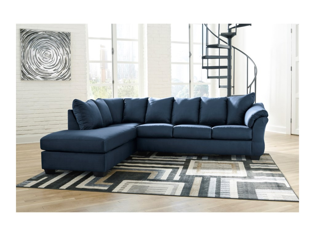 Signature Design by Ashley Darcy - BlueSectional Sleeper Sofa with Chaise