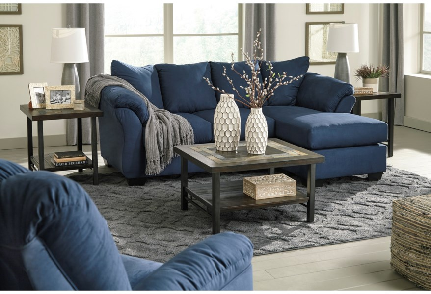 Signature Design By Ashley Darcy Blue Contemporary Sofa Chaise With Flared Back Pillows Value City Furniture Sectional Sofas