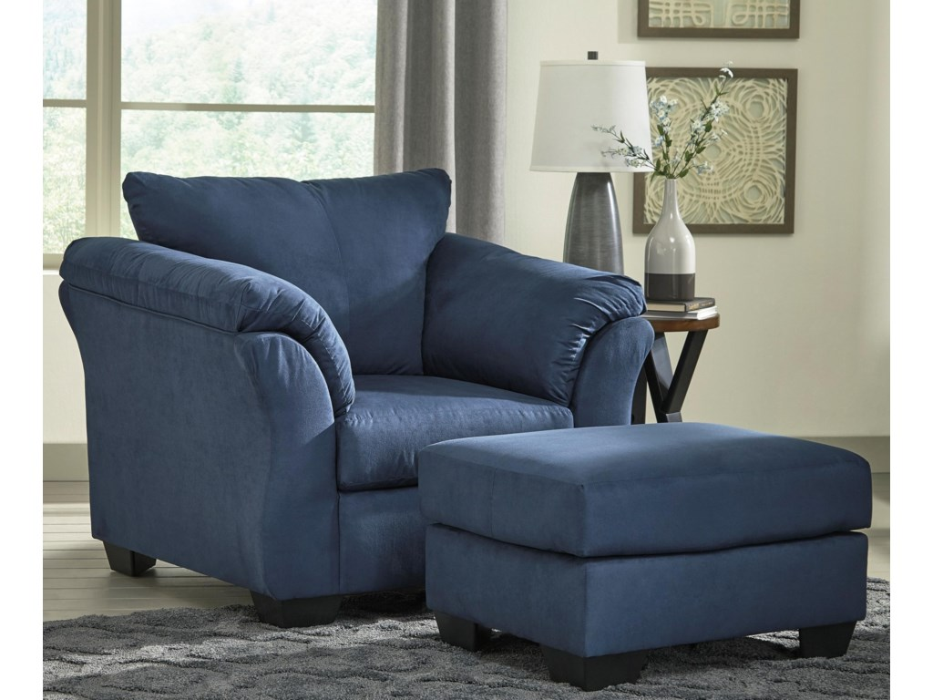 Signature Design by Ashley Darcy - BlueUpholstered Chair and Ottoman