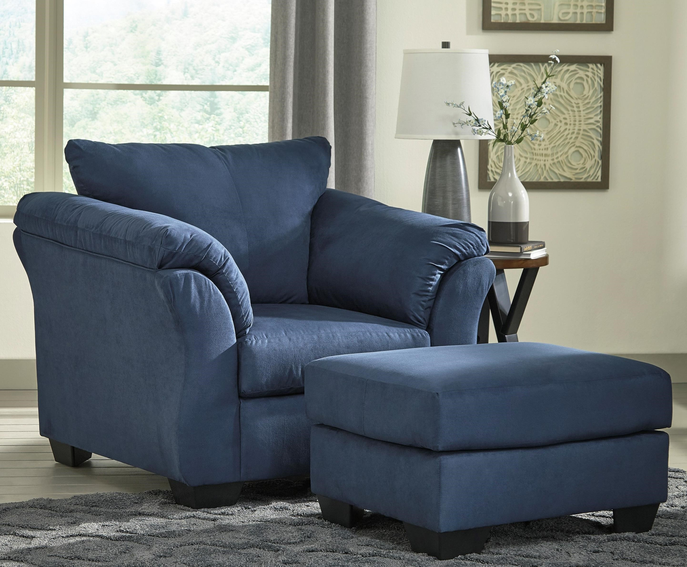 Signature Design By Ashley Darcy   BlueUpholstered Chair And Ottoman ...