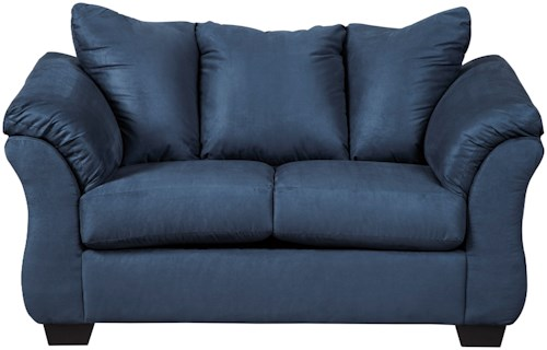 Signature Design by Ashley Darcy - Blue Contemporary Stationary Loveseat with Flared Back Pillows