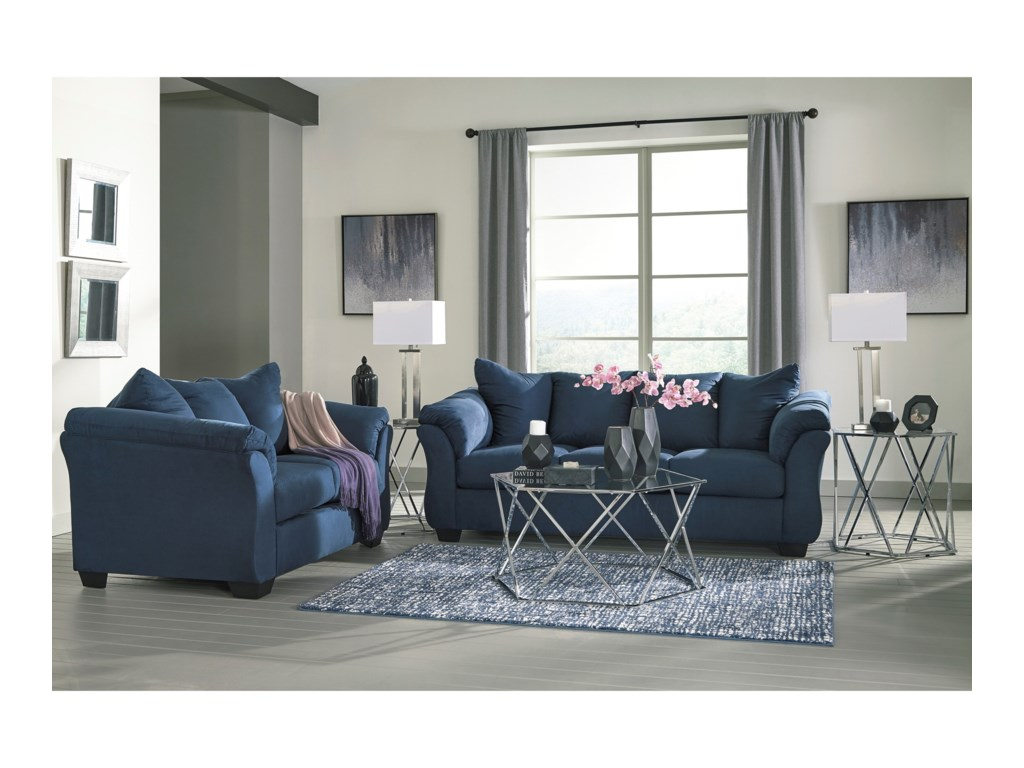 Signature Design by Ashley Darcy - BlueStationary Loveseat