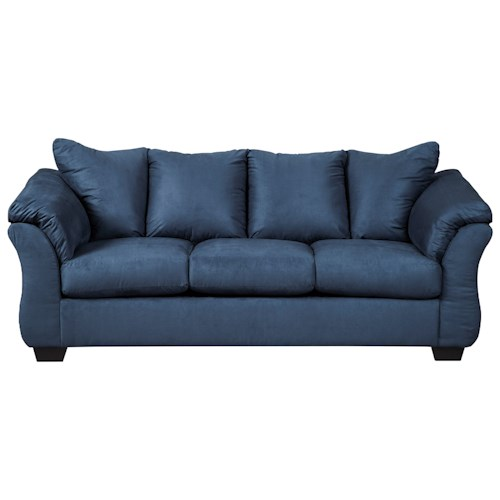 Signature Design by Ashley Darcy - Blue Contemporary Stationary Sofa with Flared Back Pillows