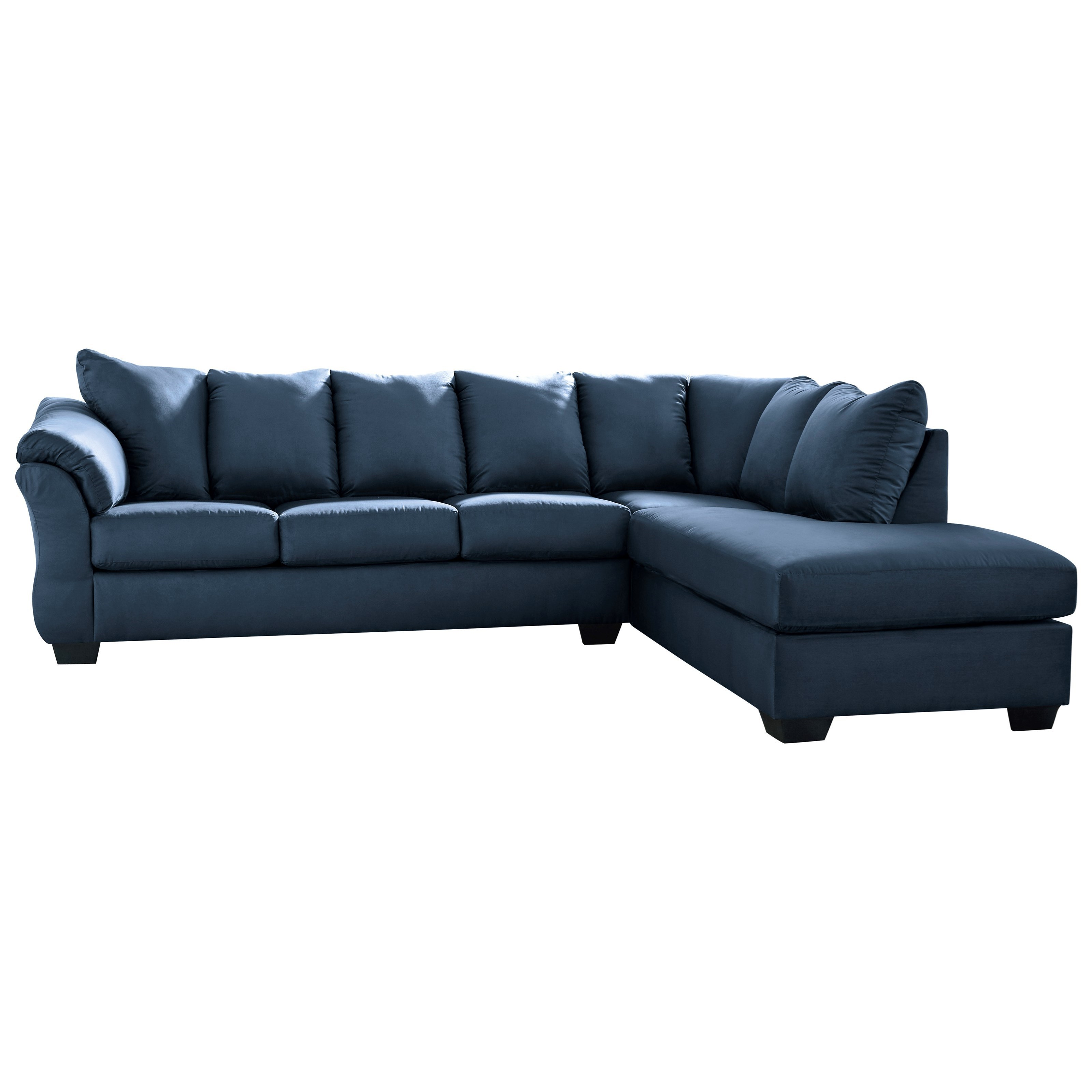 Signature Design By Ashley Darcy Blue Contemporary 2 Piece Sectional Sofa With Right Chaise Royal Furniture Sectional Sofas