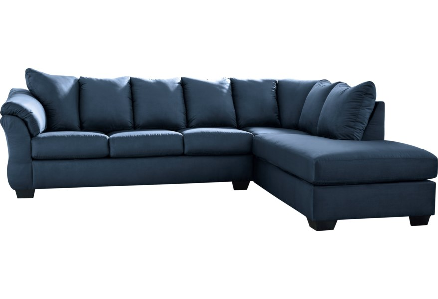 Darcy - Blue Contemporary 2-Piece Sectional Sofa with Right Chaise by  Signature Design by Ashley at Furniture and ApplianceMart
