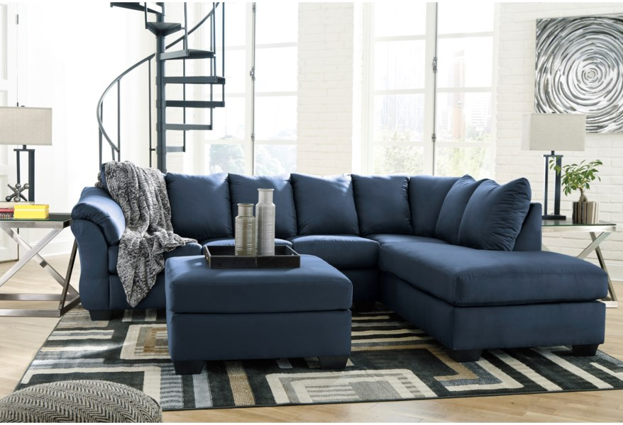 Signature Design By Ashley Darcy - Blue 7500766+17 Contemporary 2-Piece Sectional Sofa With Right Chaise | Furniture And ApplianceMart | Sectional Sofas