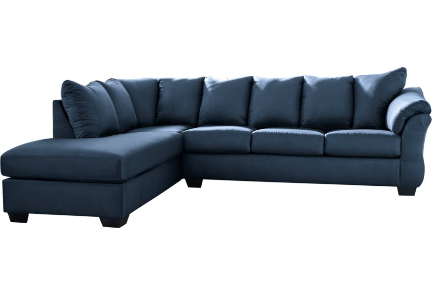 Signature Design By Ashley Darcy - Blue Contemporary 2-Piece Sectional Sofa With Left Chaise | Suburban Furniture | Sectional Sofas