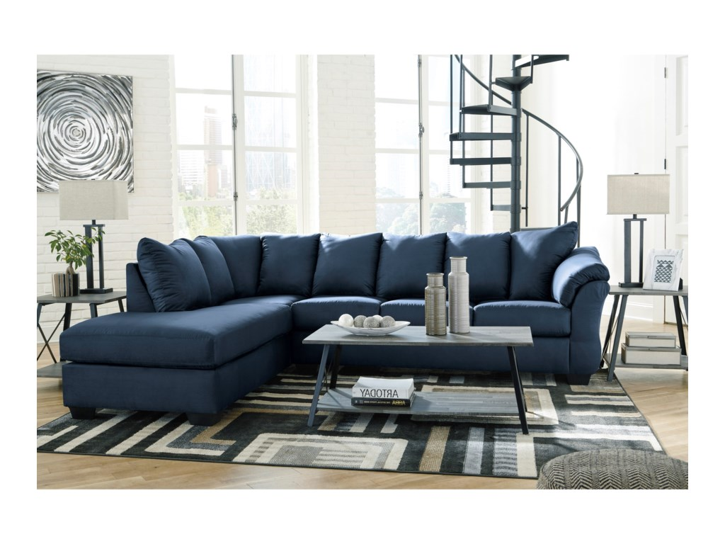 Signature Design By Ashley Darcy Blue Contemporary 2 Piece Sectional Sofa With Left Chaise Royal Furniture Sectional Sofas