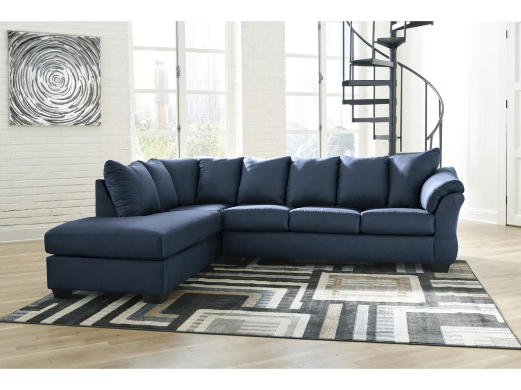 Signature Design by Ashley Darcy - Blue2 PC Sectional, Chair and Ottoman Set
