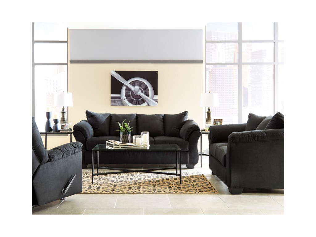 Signature Design by Ashley Darcy - Black Stationary Living Room ...