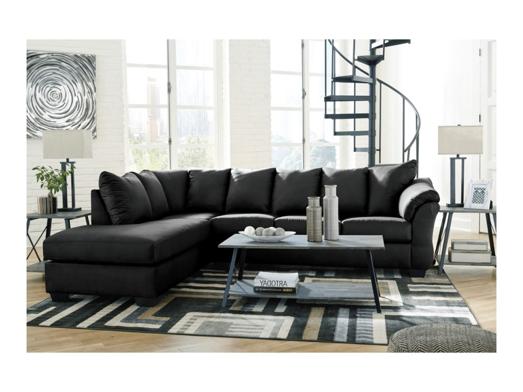 Signature Design by Ashley Darcy - BlackSectional Sleeper Sofa with Chaise