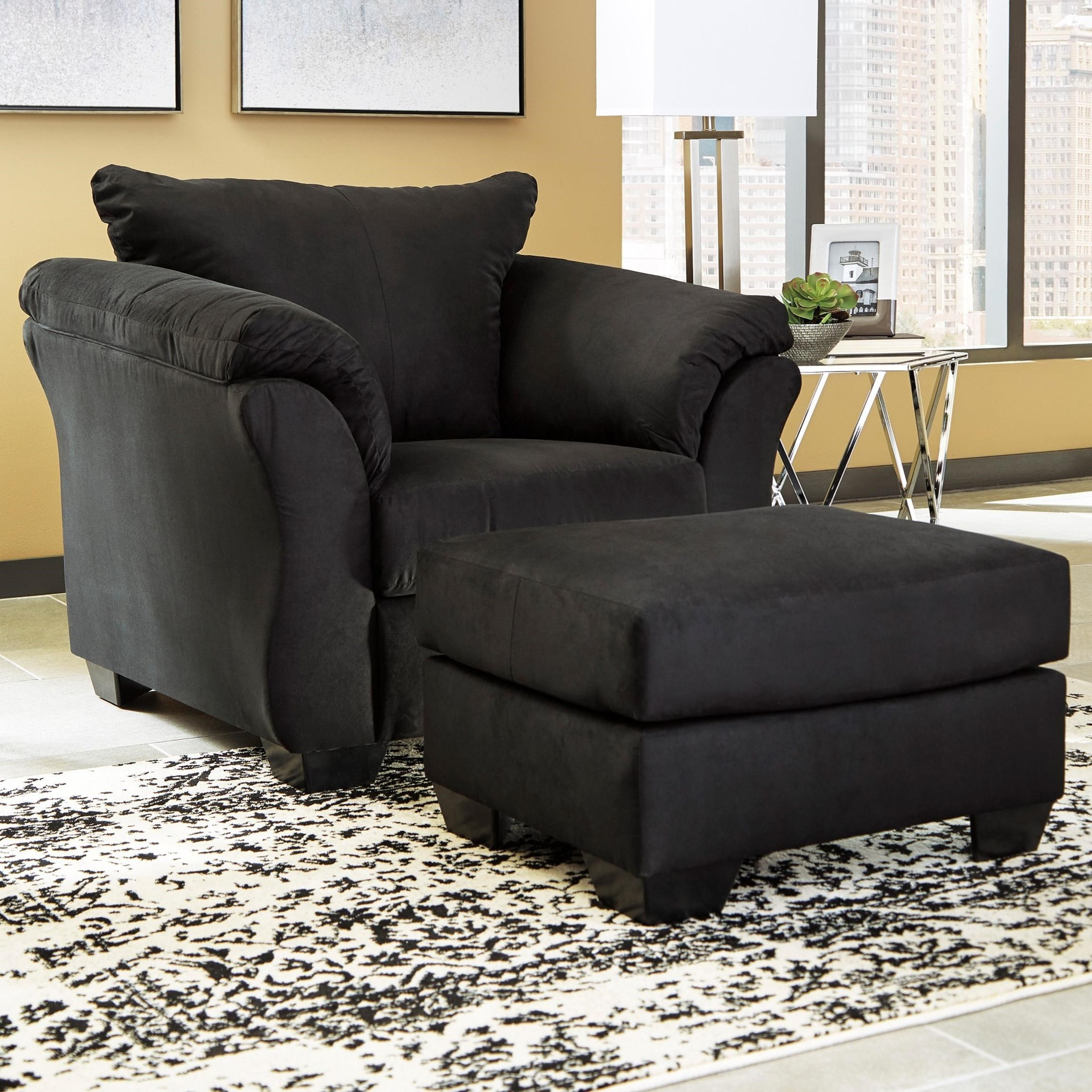 Ashley Signature Design Darcy   BlackUpholstered Chair And Ottoman ...