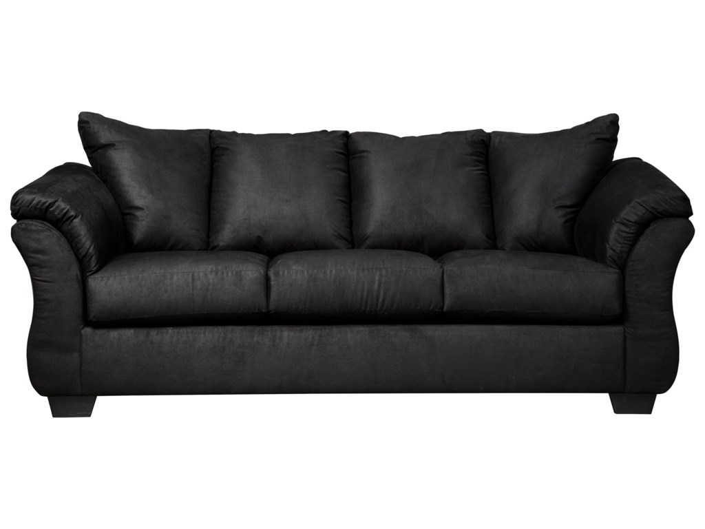Signature Design By Ashley Darcy Black 7500838 Contemporary Stationary Sofa With Flared Back Pillows Household Furniture Sofas