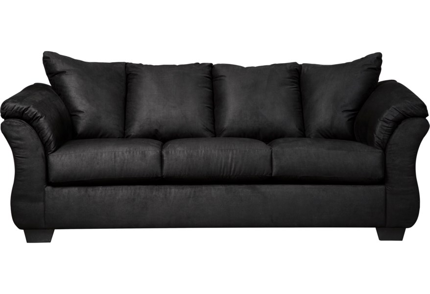 Darcy - Black Contemporary Stationary Sofa with Flared Back Pillows by  Signature Design by Ashley at Sparks HomeStore