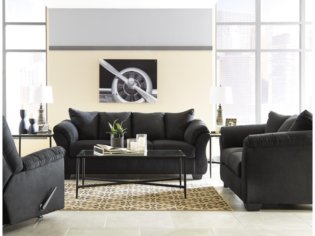 Signature Design by Ashley Darcy - BlackSofa, Loveseat and Recliner Set