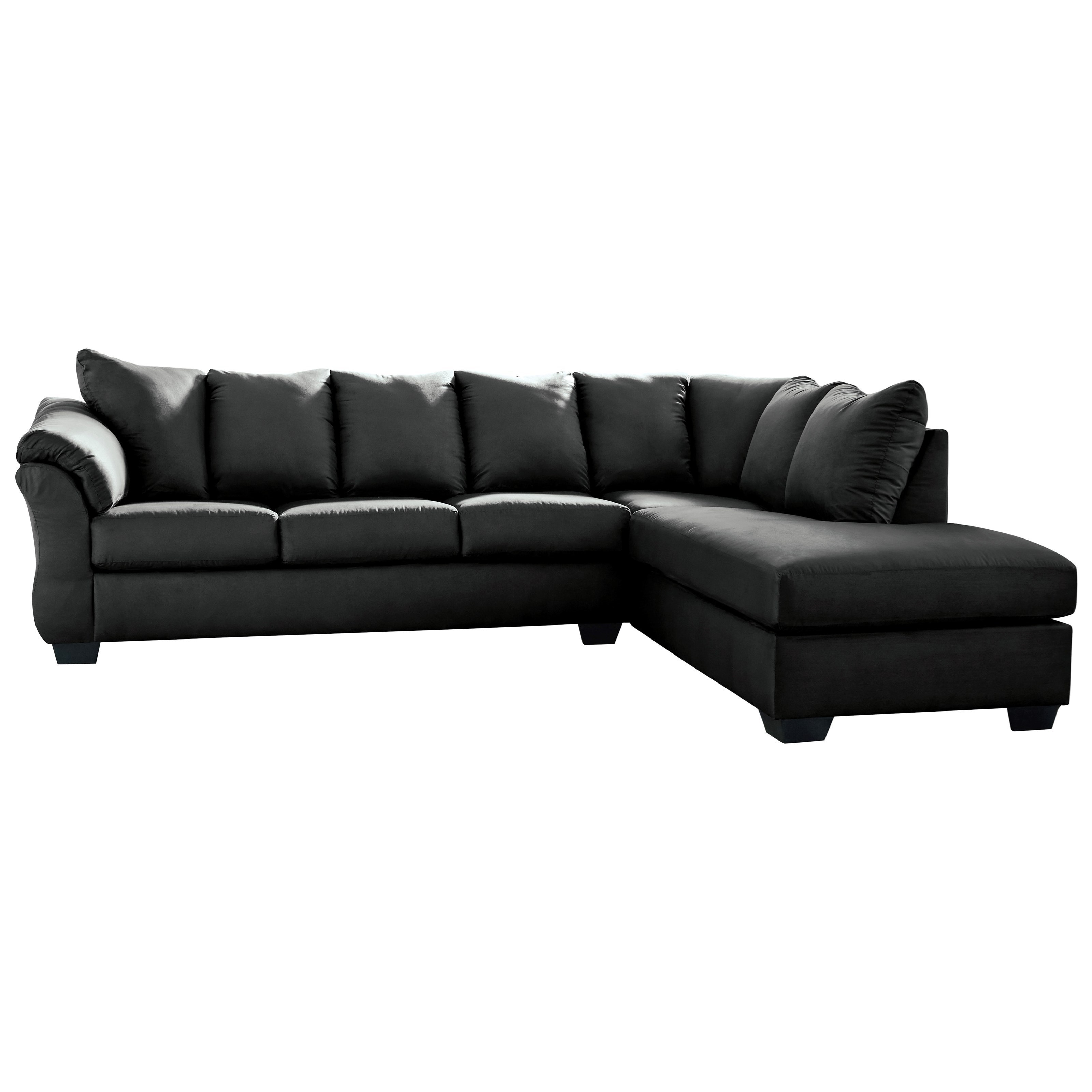 Picture of: Signature Design By Ashley Darcy Black Contemporary 2 Piece Sectional Sofa With Right Chaise Royal Furniture Sectional Sofas