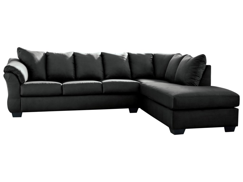 Darcy - Black Contemporary 2-Piece Sectional Sofa with Right Chaise by  Signature Design by Ashley at Royal Furniture