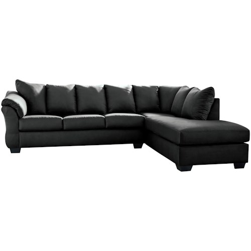Signature Design by Ashley Darcy - Black Contemporary 2-Piece Sectional Sofa with Right Chaise