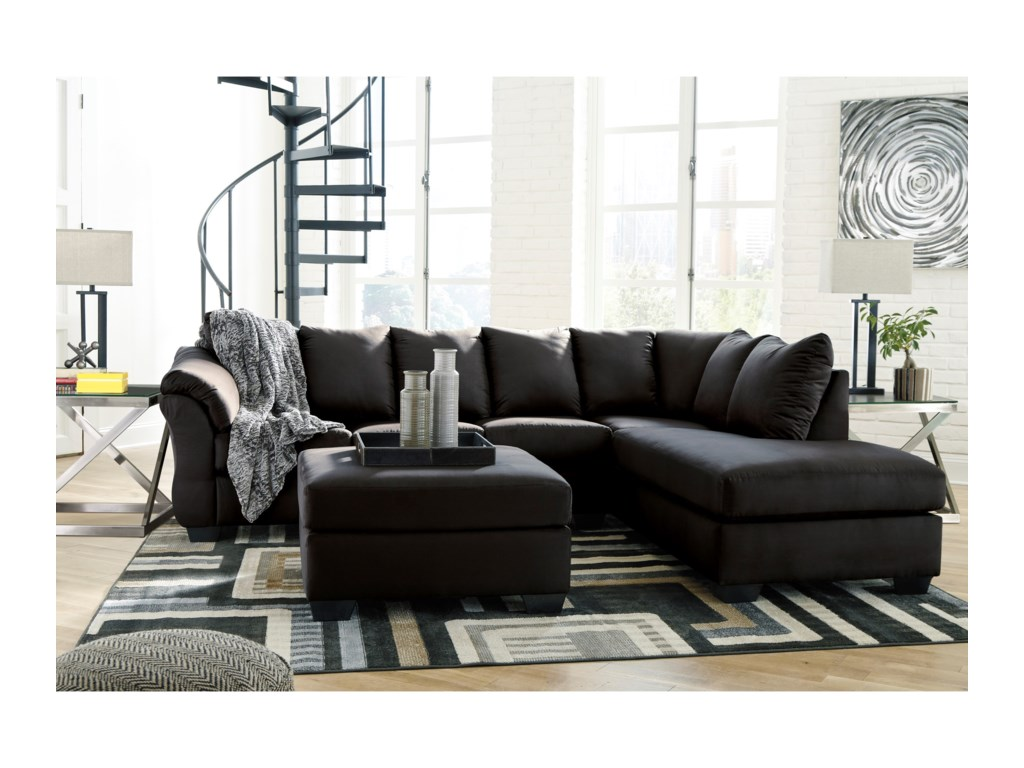 Signature Design by Ashley Darcy - Black2-Piece Sectional Sofa