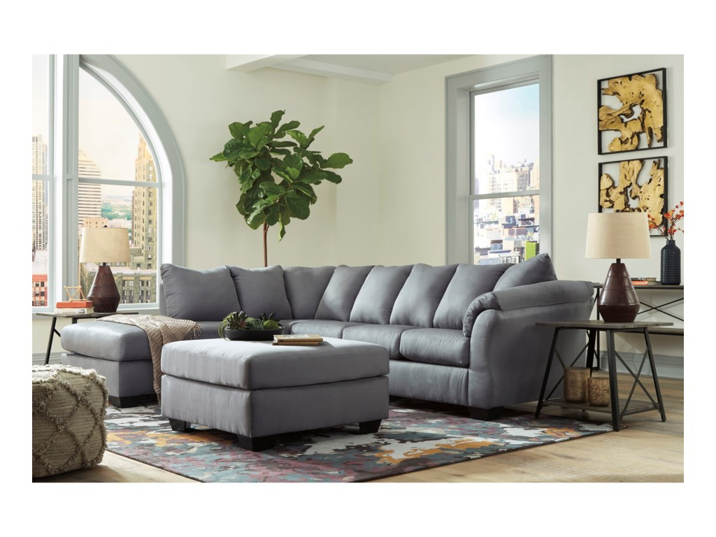 Signature Design by Ashley Darcy - SteelSectional Sleeper Sofa with Chaise