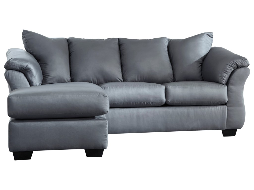 Darcy - Steel Contemporary Sofa Chaise with Flared Back Pillows by  Signature Design by Ashley at Household Furniture