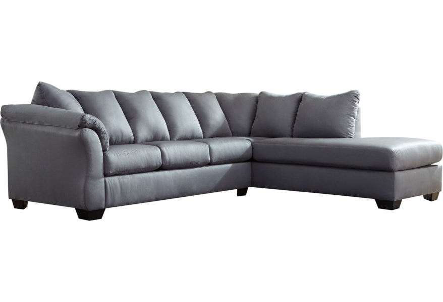 Darcy - Steel Contemporary 2-Piece Sectional Sofa with Right Chaise by  Ashley Signature Design at Dunk & Bright Furniture